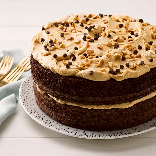 Cocoa Cake with Peanut Butter Frosting