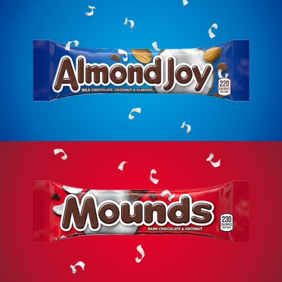 Wrapped ALMOND JOY and MOUNDS Candy Bars