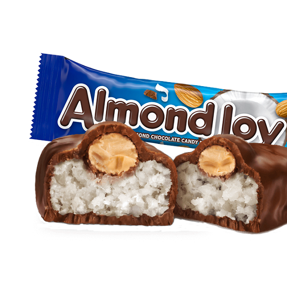 ALMOND JOY Candy Bar cut to show coconut and almond