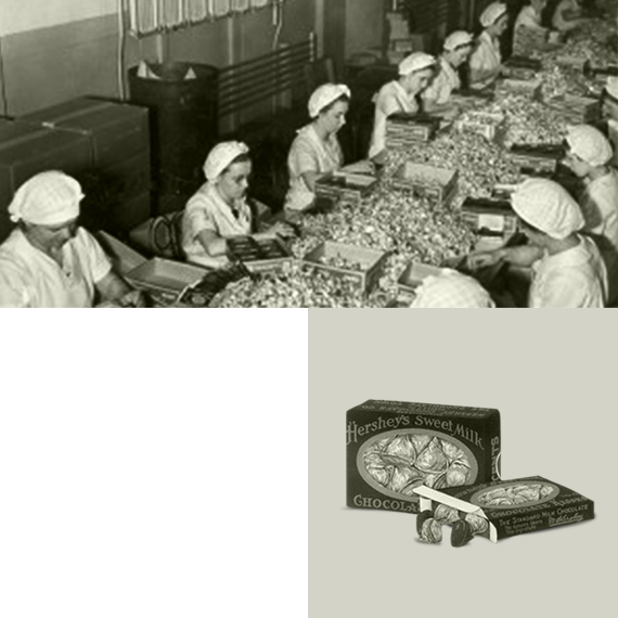 HERSHEY'S KISSES Candy factory workers vintage photograph
