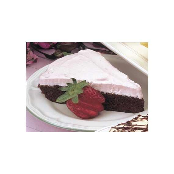 Easy-Bake Brownie Pie with Strawberry Cream Topping
