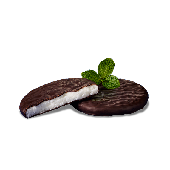 Wrapped YORK Peppermint Pattie with bite out of it and cartoon mint leaves